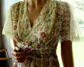 Gunne Sax Style Dress with Flutter Sleeves and the Colors of an Emerging Autumn.