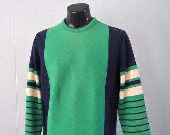 Vintage Ski Athletic Sweater Skiing olympics Kelly Green Navy Blue Striped Slim LARGE
