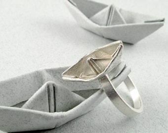 Origami Jewelry Silver Boat Ring Origami Boat