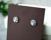 Sterling Silver Stud Earrings - Tiny Tree Earrings - Handcrafted Sterling Post Earrings - Tiny Tree of Life