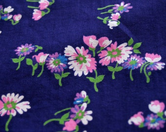 1.67 yards VTG fabric: Purple floral cotton