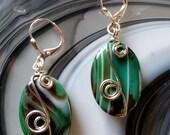 Wire Wrap Green Onyx Agate Gemstone Silver Pierced Earrings