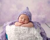 Lavender Newborn Hand Knit Baby Girl Bonnet