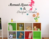 Mermaid Kisses & Starfish Wishes Wall Decal Quote Vinyl Wall Decal