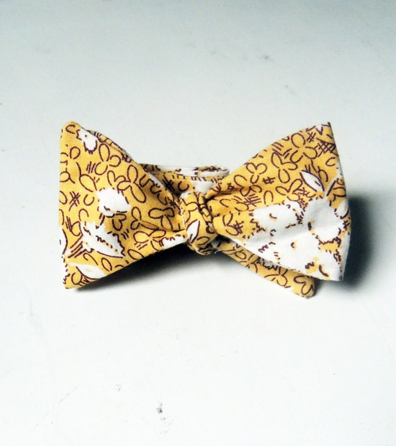 Handmade Bow Tie Mustard Floral Cotton Mens and Boys