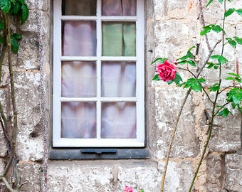 French Country Photography, Cottage Window, Romantic Home Decor, Fine Art Travel Photograph, Large Wall Art