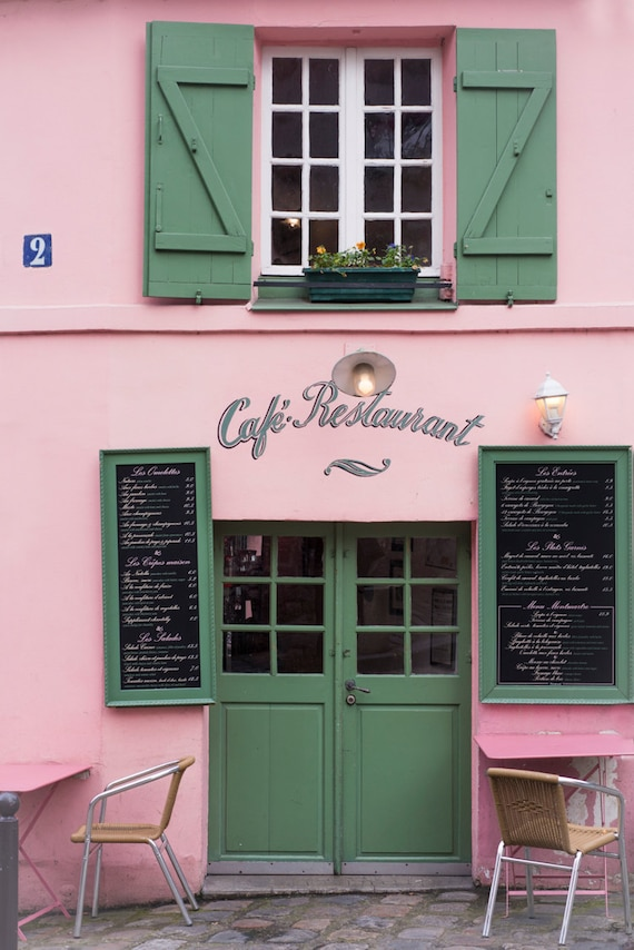 Paris photography pink and green cafe la maison rose for La maison du cafe paris