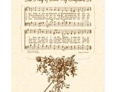 The KING Of LOVE My SHEPHERD Is --- 8x10 Antique Hymn Art Print Vintage Natural Parchment Sepia Brown Vintage Verses  Psalm 23