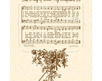 The KING Of LOVE My SHEPHERD Is Antique Hymn Wall Art Print Christain Home & Office Decor Vintage Verses Sheet Music Wall Art Psalm 23 Sale