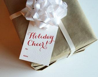 Letterpress Holiday Gift Tags - Christmas Gift Tags - Holiday Cheer