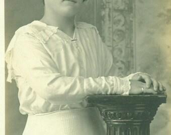 Elegant Edwardian Farm Girl Young Woman Standing White Dress RPPC Real Photo Postcard  Antique Vintage Black White Photo Photograph