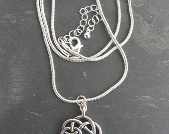 Irish  Warrior Antique Silver Celtic Knot Pendant Necklace-Ireland Necklace