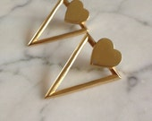 Vintage gold heart earrings with spikes