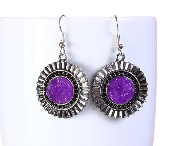 Antique silver purple faux dusy dangle earrings - Faux Druzy earrings - Textured earrings - Nickel lead free earrings (798)