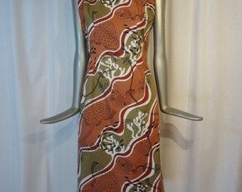 Hawaiian Dress Tiki DressWaterfall Back  -  Med Bust 38 inches