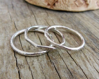 Sterling Silver Stacking Rings - Silver- Stackable Rings - Silver Rings For Her