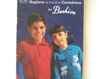 Vintage Knitting Patons Beehive 104 Raglans Children's Sweaters Pattern Book