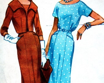 UNCUT 1950's Vintage McCall's Pattern 5287 - LOVELY Misses' Dress with Bloused Bodice and Jacket Bust 36  Size 16