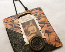 Little Bitty ORIGINAL ART Mixed Media Nude ASSEMBLAGE Antique Marbled Paper Victorian Die Cut by Kimberly Wooten (2011)