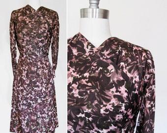 Vintage 50s Abstract Floral Sheath Dress sz Medium