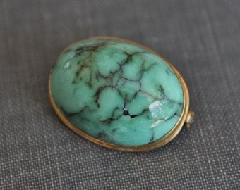 Large Antique Natural Matrix Turquoise Cabochon Pebble Brooch