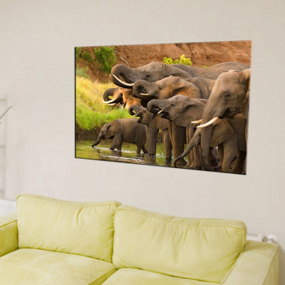 Canvas Print - Elephant African Wildlife - Elephant Wall Art - Elephant Wall Decor - Elephant Painting - Ready to Hang - Wildlife Home Decor