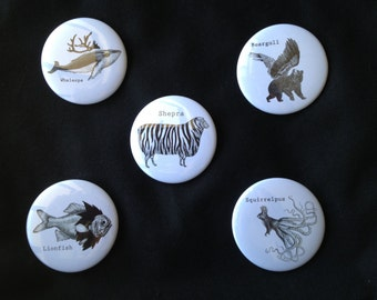 Set of 5 Mythical Creature Buttons