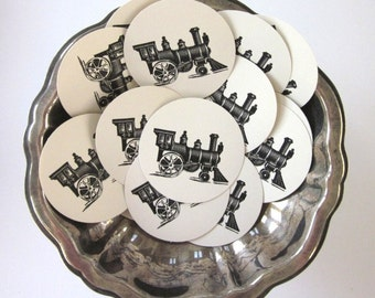 Train Tags Round Paper Gift Tags Set of 10