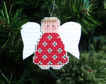 Angel Christmas Tree Ornament - Angel Katy - Cross Stitched Holiday Ornament - Free U.S. Shipping
