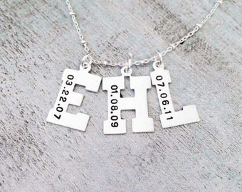 Sterling Silver Custom Initials Necklace Sterling Silver Letter Necklace Sterling SIlver Birthdate Necklace Children Mother Baby