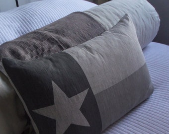 hand printed Texas State flag cushion cover
