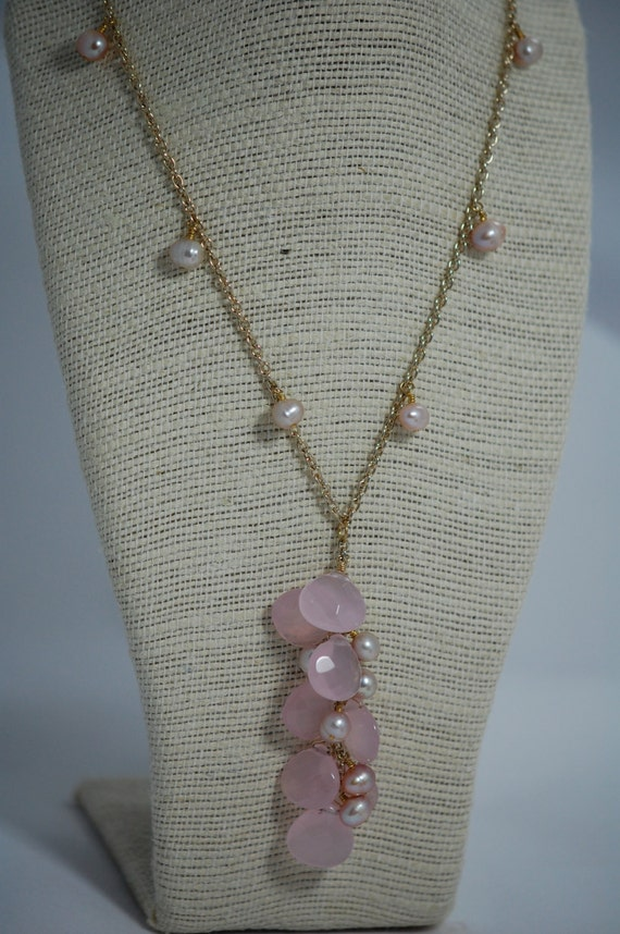pink chalcedony briolette & freshwater pearl necklace. wire wrapped, handmade. drop necklace, pearl cluster, briolette.