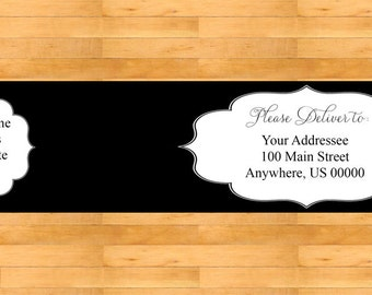 Black and White Wrap Around Address Labels - Wedding address labels