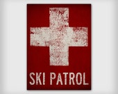 SKI PATROL Ski Snowboard Graphic Art Stretched Canvas Ready-To-Hang