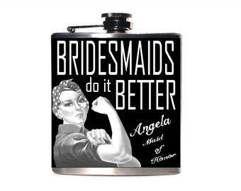 Bridesmaid Flask, Gift for Maid of Honor, Rosie the Riveter, Personalized Bridesmaids Gifts, Wedding Favors,