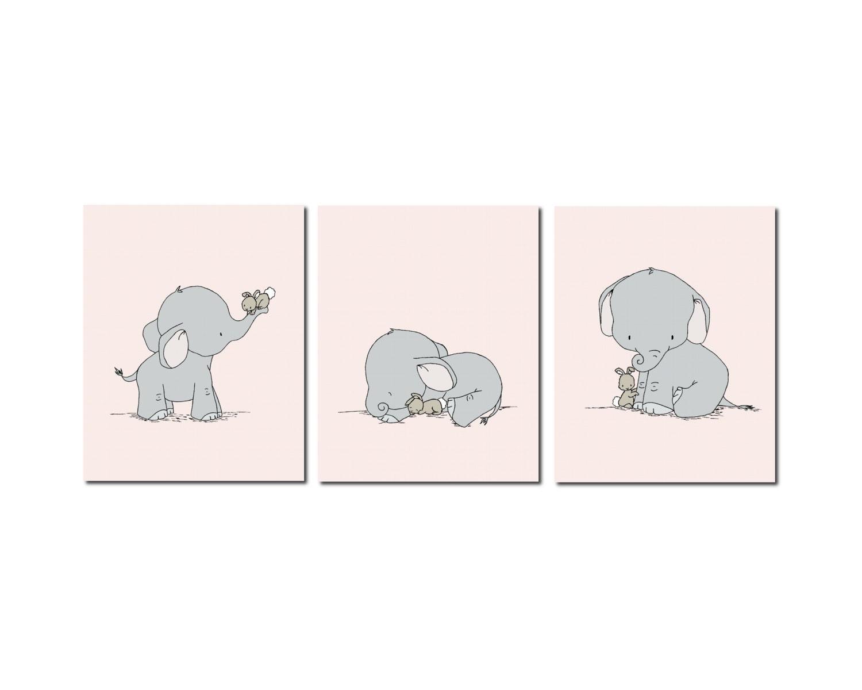 Elephant nursery art elephant and bunny nursery art pink and for Elephant mural nursery