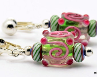 Sale / On Sale / Clearance Jewelry / Jewelry on Sale / Marked Down / Christmas Swirl Lampwork Glass Silver Plated Clip On Earrings - EA00064