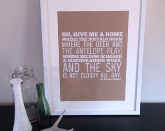 """Home on the range print screenprinted 12""""x18"""""""