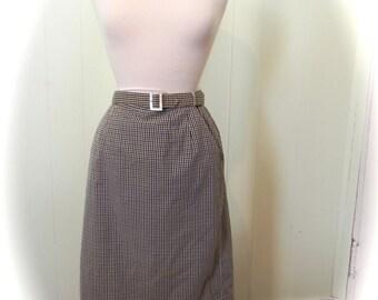 Vintage 50s Gingham Pencil Skirt with Belt , 50s Pinup Skirt , Wiggle skirt - on sale