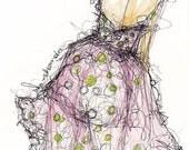 Polka Dot Dress Print,  Fashion Illustration