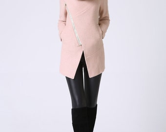Pink coat,Hooded Jacket, pink blazer, pink wool coat, winter jacket,  custom coat, Asymmetric Zip coat, oversized coat, Custom made  (1071)