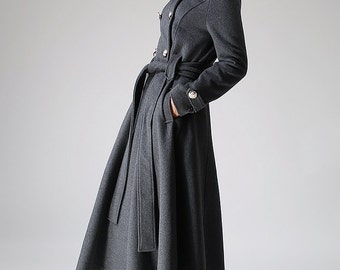Gray coat wool coat Long coat Military Coat (1072)