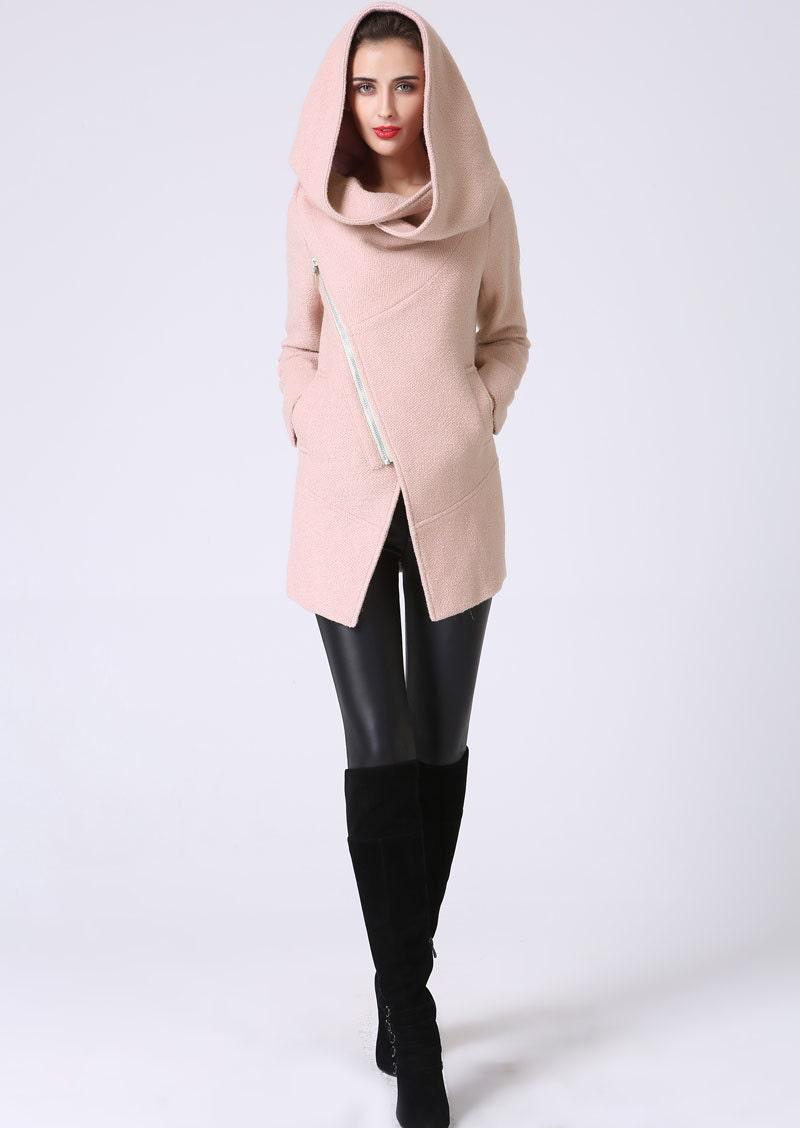 Pink coatHooded Jacket pink blazer pink wool coat winter