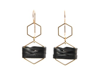 Brass hexagon earrings and woven leather - black natural red - As seen at Macy's