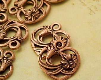 SALE 3 Floral Heart Charms - Made in the USA - Tierra Cast - 20mm X 18mm - Handmade Jump Rings Included - Antique Copper, Gold and Silver