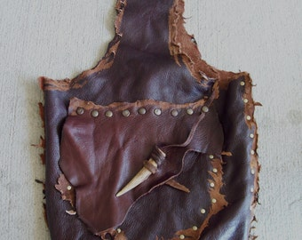 Traveler's Bag -- leather tribal huntress viking renaissance costume deer antler apocalyptic