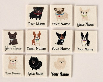 Dogs Name Tags - iron on name labels for children's clothing, personalized and printed on organic cotton