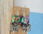 Butterfly Earrings, clear and colorful earrings, wire wrap earrings, stainless steel earrings  (E122)
