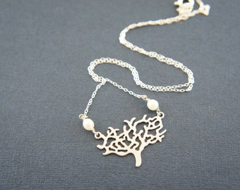 silver tree necklace - with pearl, gift, bridal, bridesmaids, gift, layered necklace