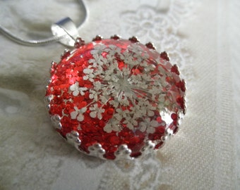 Dorothy's Ruby Red Slippers-Queen Anne's Lace Beneath Glass Atop Glittery,Red Pressed Flower Crown Pendant-Symbolizes Peace-Gifts Under 30